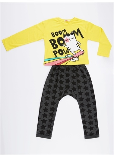 Denokids Boom Boom Cat Kız Pantolon Takım Renkli